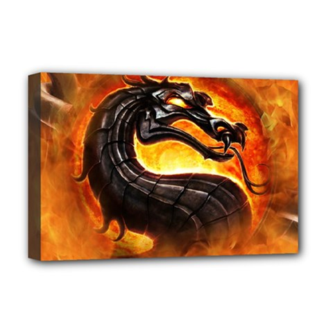 Dragon And Fire Deluxe Canvas 18  X 12