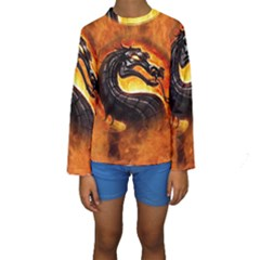 Dragon And Fire Kids  Long Sleeve Swimwear