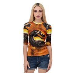 Dragon And Fire Quarter Sleeve Tee