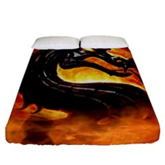 Dragon And Fire Fitted Sheet (queen Size)
