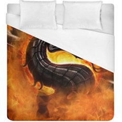 Dragon And Fire Duvet Cover (king Size)