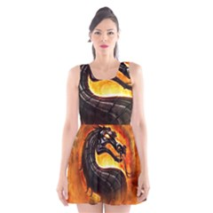 Dragon And Fire Scoop Neck Skater Dress