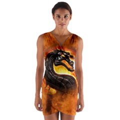 Dragon And Fire Wrap Front Bodycon Dress
