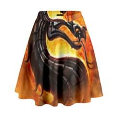 Dragon And Fire High Waist Skirt