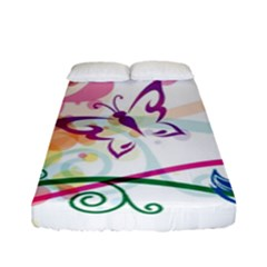 Butterfly Vector Art Fitted Sheet (full/ Double Size)