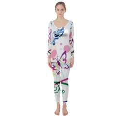 Butterfly Vector Art Long Sleeve Catsuit