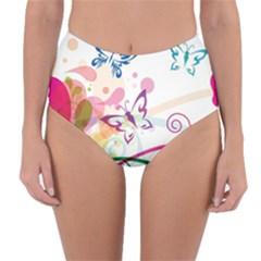Butterfly Vector Art Reversible High Waist Bikini Bottoms