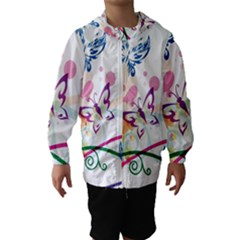 Butterfly Vector Art Hooded Wind Breaker (kids)
