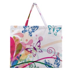 Butterfly Vector Art Zipper Large Tote Bag