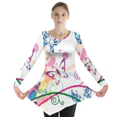Butterfly Vector Art Long Sleeve Tunic