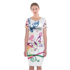 Butterfly Vector Art Classic Short Sleeve Midi Dress
