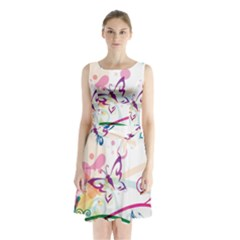 Butterfly Vector Art Sleeveless Waist Tie Chiffon Dress
