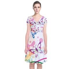 Butterfly Vector Art Short Sleeve Front Wrap Dress