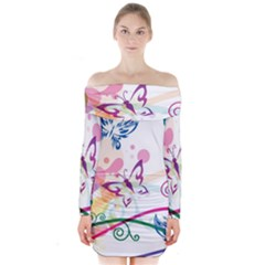 Butterfly Vector Art Long Sleeve Off Shoulder Dress