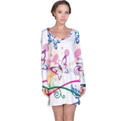 Butterfly Vector Art Long Sleeve Nightdress