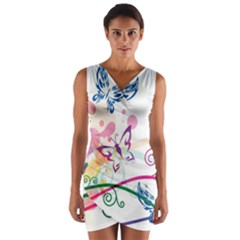Butterfly Vector Art Wrap Front Bodycon Dress
