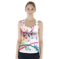Butterfly Vector Art Racer Back Sports Top