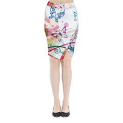Butterfly Vector Art Midi Wrap Pencil Skirt