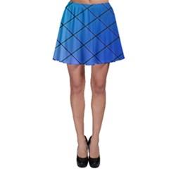 Blue Pattern Plain Cartoon Skater Skirt