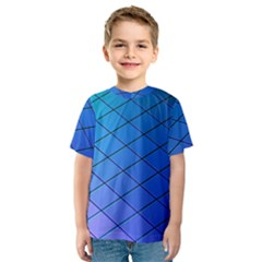Blue Pattern Plain Cartoon Kids  Sport Mesh Tee