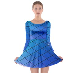 Blue Pattern Plain Cartoon Long Sleeve Skater Dress