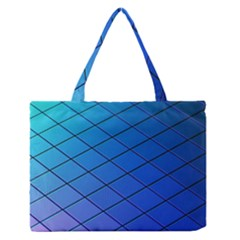 Blue Pattern Plain Cartoon Medium Zipper Tote Bag