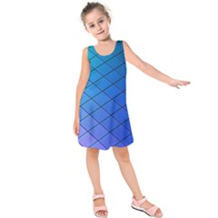 Blue Pattern Plain Cartoon Kids  Sleeveless Dress
