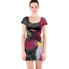 Cendrawasih Beautiful Bird Of Paradise Short Sleeve Bodycon Dress