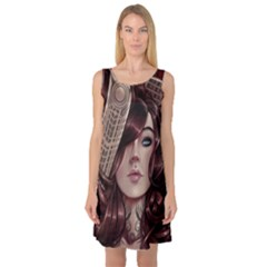 Beautiful Women Fantasy Art Sleeveless Satin Nightdress