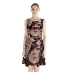 Beautiful Women Fantasy Art Sleeveless Waist Tie Chiffon Dress