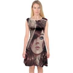 Beautiful Women Fantasy Art Capsleeve Midi Dress
