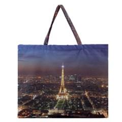 Paris At Night Zipper Large Tote Bag