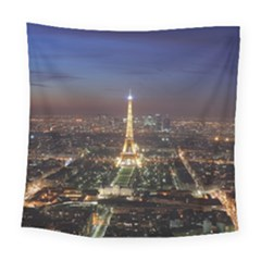 Paris At Night Square Tapestry (large)