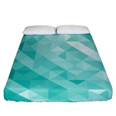 Bright Blue Turquoise Polygonal Background Fitted Sheet (queen Size) by TastefulDesigns
