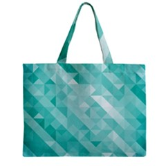 Bright Blue Turquoise Polygonal Background Zipper Mini Tote Bag by TastefulDesigns