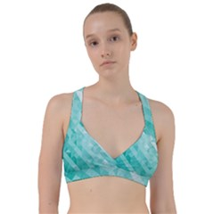 Bright Blue Turquoise Polygonal Background Sweetheart Sports Bra