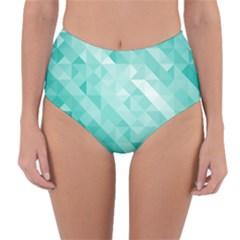 Bright Blue Turquoise Polygonal Background Reversible High Waist Bikini Bottoms