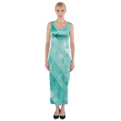 Bright Blue Turquoise Polygonal Background Fitted Maxi Dress
