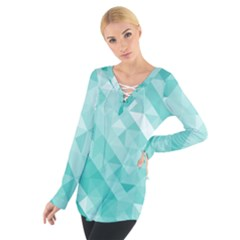 Bright Blue Turquoise Polygonal Background Tie Up Tee