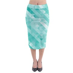 Bright Blue Turquoise Polygonal Background Midi Pencil Skirt