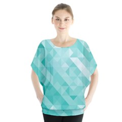 Bright Blue Turquoise Polygonal Background Blouse