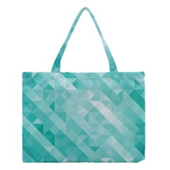 Bright Blue Turquoise Polygonal Background Medium Tote Bag
