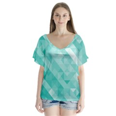 Bright Blue Turquoise Polygonal Background Flutter Sleeve Top