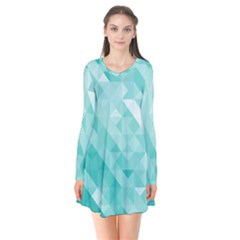 Bright Blue Turquoise Polygonal Background Flare Dress