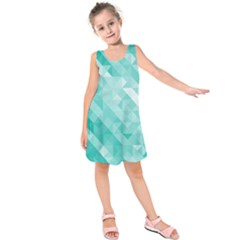 Bright Blue Turquoise Polygonal Background Kids  Sleeveless Dress