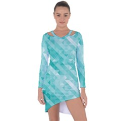 Bright Blue Turquoise Polygonal Background Asymmetric Cut Out Shift Dress