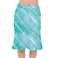 Bright Blue Turquoise Polygonal Background Mermaid Skirt