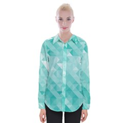 Bright Blue Turquoise Polygonal Background Womens Long Sleeve Shirt