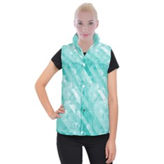 Bright Blue Turquoise Polygonal Background Women s Button Up Puffer Vest