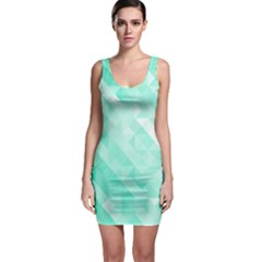 Bright Green Turquoise Geometric Background Bodycon Dress